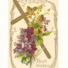 BEST WISHES, GOLD CROSS, VIOLETS, GOLDENROD POSTCARD   #304