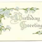 BIRTHDAY GREETINGS, BLUE FLOWERS VINTAGE POSTCARD   #307