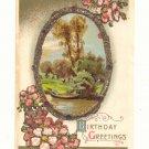 BIRTHDAY GREETINGS, PARK SCENE, FLOWERS, GLITTER POSTCARD #310