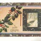 A MERRY CHRISTMAS, HOLLY, SNOW, STREAM SCENE POSTCARD   #314