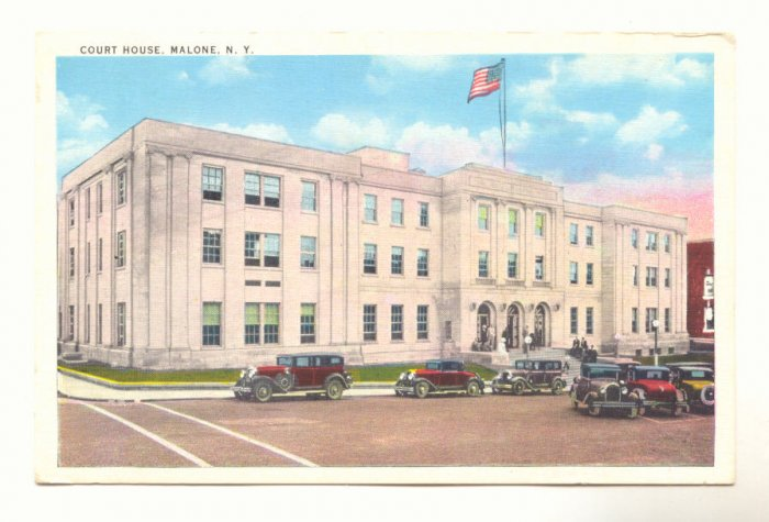 COURT HOUSE, MALONE, N.Y. NEW YORK, VINTAGE POSTCARD   #320