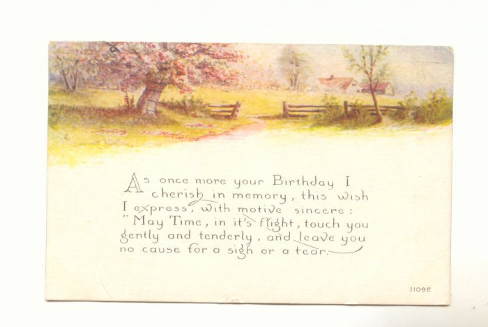 BIRTHDAY, ORCHARD SCENE, VINTAGE 1919 POSTCARD   #324