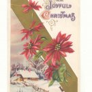 JOYFUL CHRISTMAS, WINTER SCENE DEER POINSETTIA 1915 POSTCARD #328
