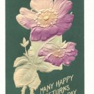 MANY HAPPY RETURNS, LARGE POPPY VINTAGE POSTCARD   #335