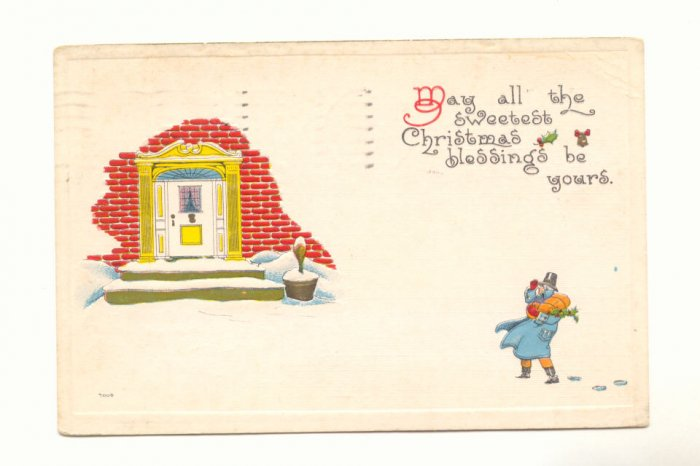 SWEETEST CHRISTMAS BLESSING, MAN WITH PACKAGES 1915   VINTAGE POSTCARD #350