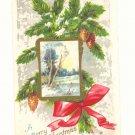 MERRY CHRISTMAS PINECONES RIBBON SCENE VINTAGE POSTCARD  1914    #353