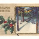 WINTER SCENE LARGE HOLLY VINTAGE CHRISTMAS POSTCARD   #354