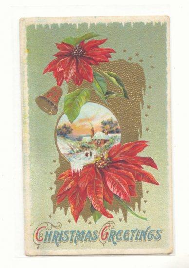 CHRISTMAS GREETING POINTSETTIA WINTER SCENE GOLD   HIGHLIGHTS VINTAGE POSTCARD #355