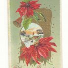 CHRISTMAS GREETING POINTSETTIA WINTER SCENE GOLD   HIGHLIGHTS VINTAGE POSTCARD #355