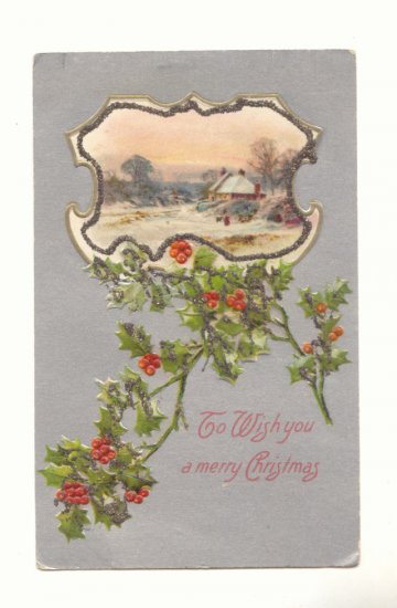WISH YOU A MERRY CHRISTMAS HOLLY WINTER SCENE POSTCARD    #357