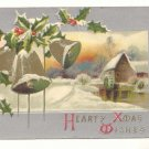 HEARTY XMAS WISHES GOLD BELLS Vintage Postcards   #359