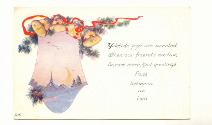 YULETIDE JOYS, WINTER SCENE, GOLD BELLS, VINTAGE   POSTCARD #368