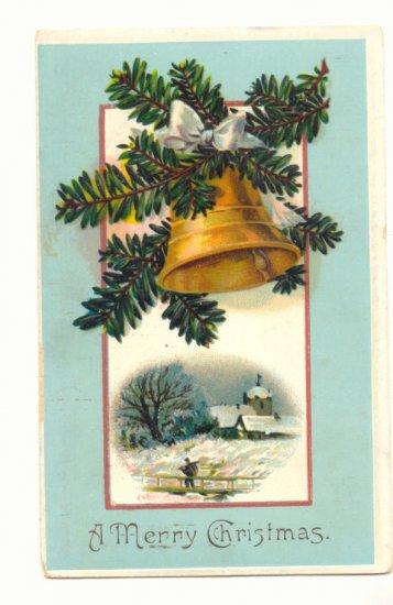 1910 MERRY CHRISTMAS GOLD BELL PINE WINTER SCENE  POSTCARD #372