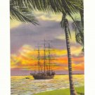 SUNSET ON BISCAYNE BAY, MIAMI, FLORIDA TALL SHIP Postcard #380