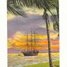 SUNSET ON BISCAYNE BAY, MIAMI, FLORIDA TALL SHIP Postcard #380