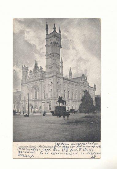 1907 MASONIC TEMPLE PHILADELPHIA VINTAGE POSTCARD   #383
