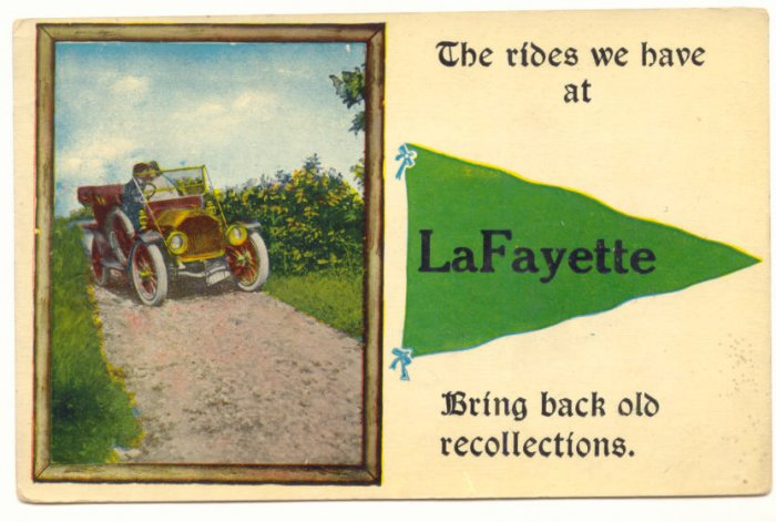 RECOLLECTIONS OF LaFAYETTE MODLE T, PENNANTS POSTCARD   #385