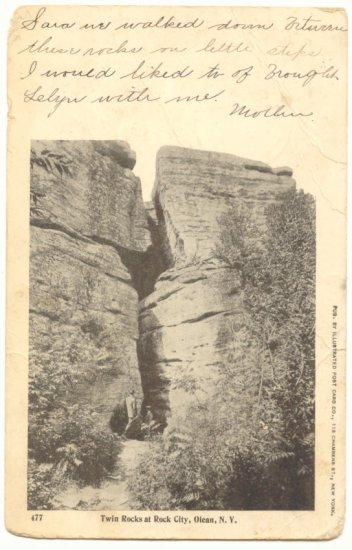 TWIN ROCKS AT ROCK CITY, OLEAN, N.Y. VINTAGE 1904  POSTCARD #386