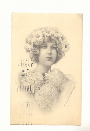 PRETTY LADY, DAISY CROWN, LARGE CARNATIONS 1914   Postcard #393