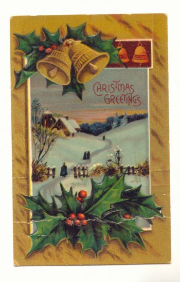 CHRISTMAS GREETINGS GOLD BELLS HOLLY SNOW SCENE  Postcard #397