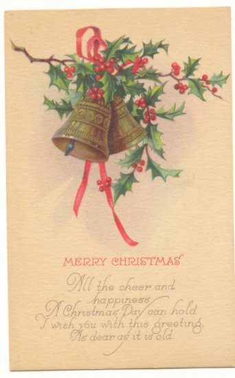 MERRY CHRISTMAS GOLD BELLS HOLLY VERSE VINTAGE POSTCARD    #398