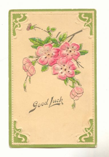 GOOD LUCK, FLOCKED CHERRY BLOSSOMS , 1909 POSTCARD    #402