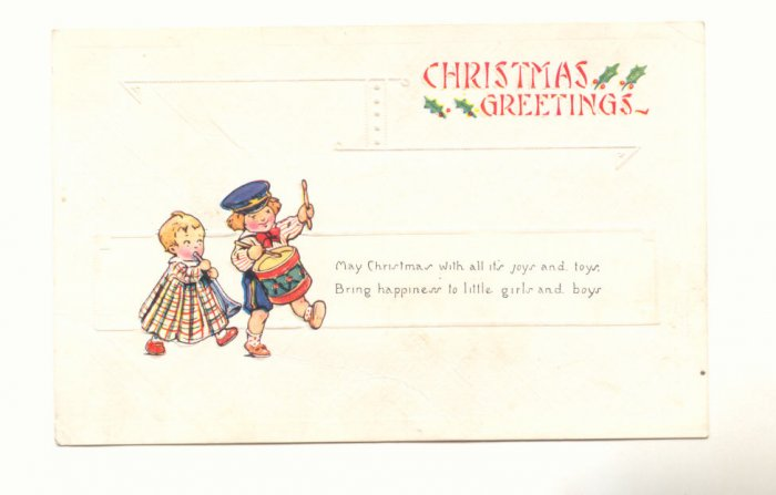 CHRISTMAS, TODDLER BAND, VERSE VINTAGE POSTCARD   #413