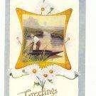 GREETINGS, MAN IN BOAT, DAISIES, VINTAGE UNUSED Postcard #414