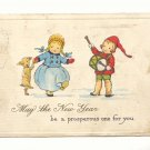 PROSPEROUS NEW YEAR, DANCING GIRL, BOY PLAYS DRUM, DOG Postcard #417