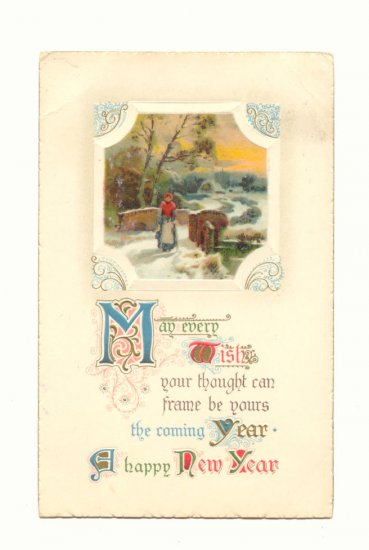 A HAPPY NEW YEAR, LADY CROSSING BRIDGE, POSTCARD    #419