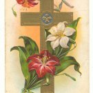 EASTER GREETINGS, LILIES , GOLD CROSS, UNUSED POSTCARD    #421