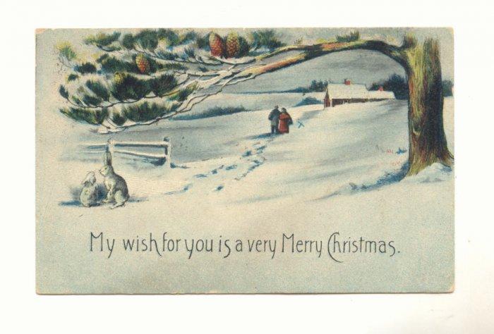 WHITE RABBITS. SNOWY SCENE VINTAGE CHRISTMAS POSTCARD    #422