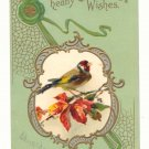 HEARTY BIRTHDAY WISHES, BIRD, FALL LEAVES VINTAGE 1907    POSTCARD #424