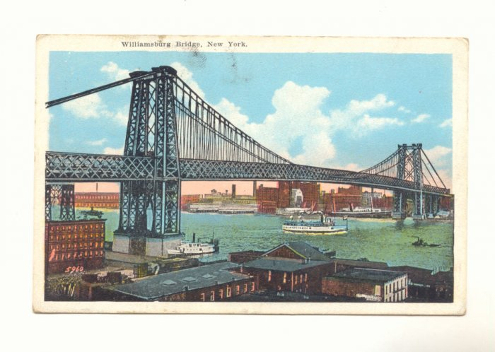 WILLIAMSBURG BRIDGE, NEW YORK VINTAGE LINEN POSTCARD   #428