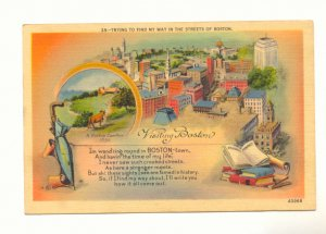 TRYING TO FIND MY WAY,THE STREETS OF BOSTON Postcard   #442
