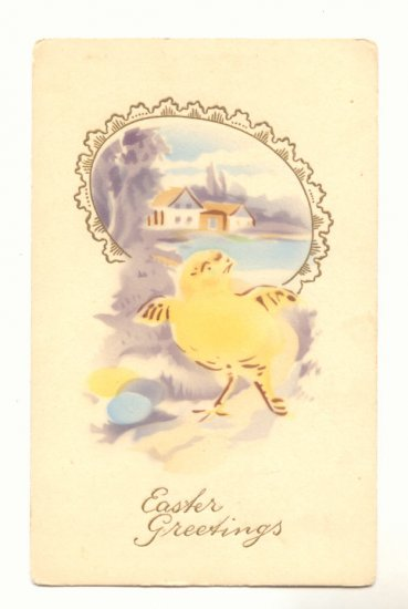 EASTER GREETING, YELLOW CHICK EGG FRAMED SCENE Postcard   #444