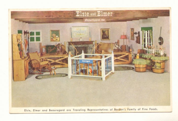 ELSIE & ELMER REPS OF BORDENS CHEESE VINT POSTCARD   #446