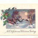 OLD FASHIONED CHRISTMAS FULL MOON WINTER SCENE VINTAGE  Postcard #460