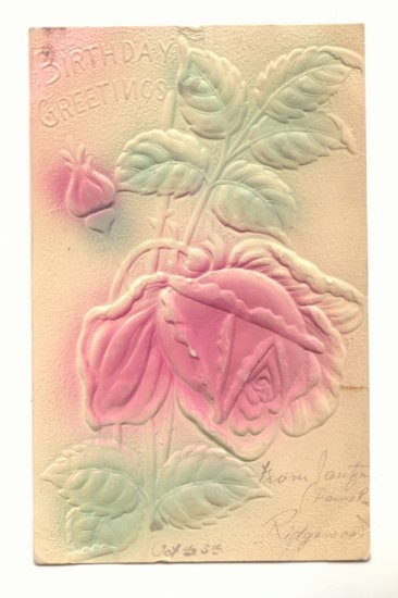 HEAVY EMBOSSED LARGE ROSE BIRTHDAY VINTAGE POSTCARD   #463