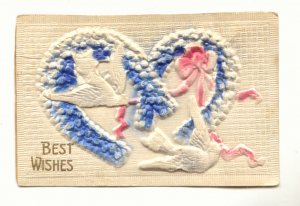 BEST WISHES, HEAVY EMBOSSED DOVES, HEARTS POSTCARD    #470