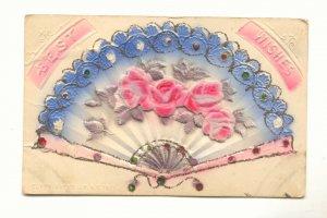 BEST WISHES, Heavy Embossed Fan, Flocked Roses Postcard   #472