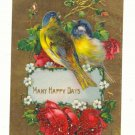 MANY HAPPY DAYS, Blue Birds, Roses, Postcard Unused   #474