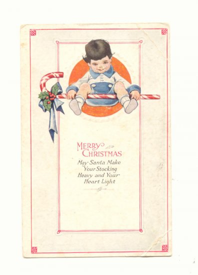 Merry Christmas Young boy, Candy Cane, Vintage Postcard   #478