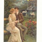 ROMANTIC COUPLE, SWANS, MOONLIGHT, VINTAGE POSTCARD   #480