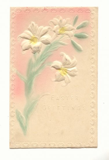 EASTER, HEAVILY EMBOSSED DAFFODILS VINTAGE POSTCARD   #481