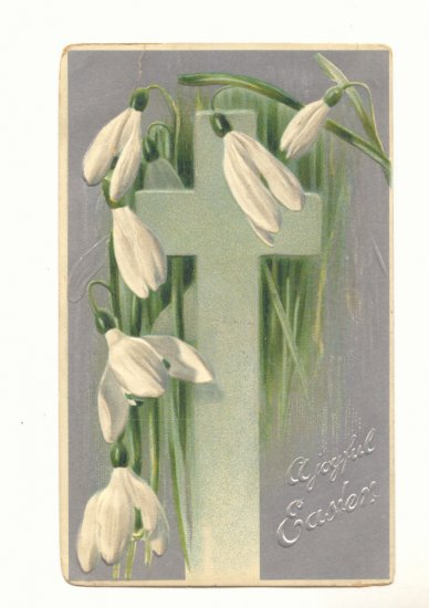 JOYFUL EASTER PAPER WHITES SILVER CROSS VINTAGE POSTCARD  #490