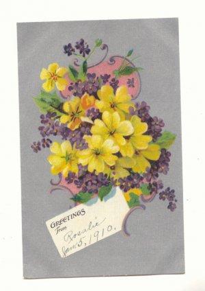 1910 GREETINGS, BOUQUET OF FLOWERS, VINTAGE POSTCARD #493