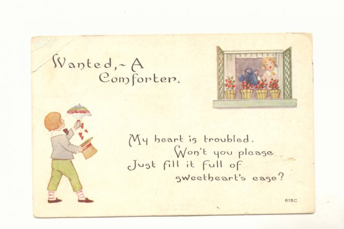 WANTED, A COMFORTER GIRL IN WINDOW BOY FLOWERS 1919   Postcard #495
