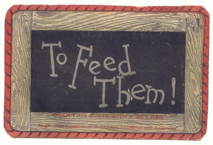 TO FEED THEM! Vintage Magic Slate Postcard 1907   #507