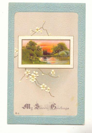 MY SINCERE GREETINGS, LOVELY POND SCENE Vintage Postcard #516